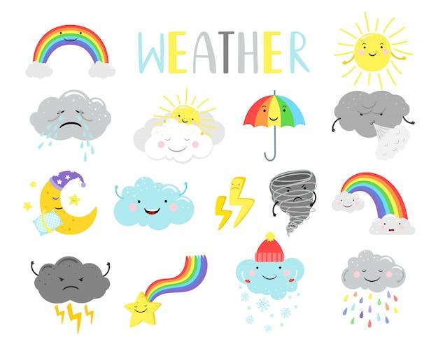 Artículos meteorológicos de dibujos animados para niños Vector Premium