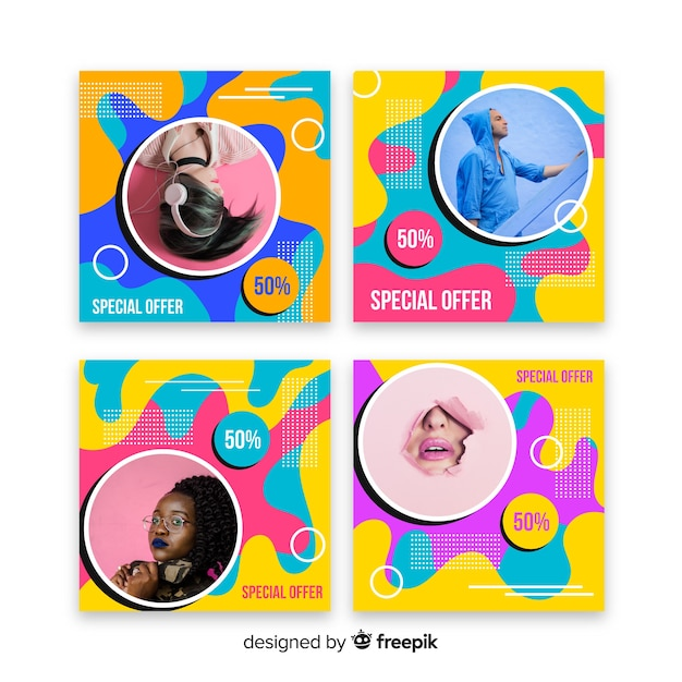 Artículos de moda pancartas instagram post collection vector gratuito