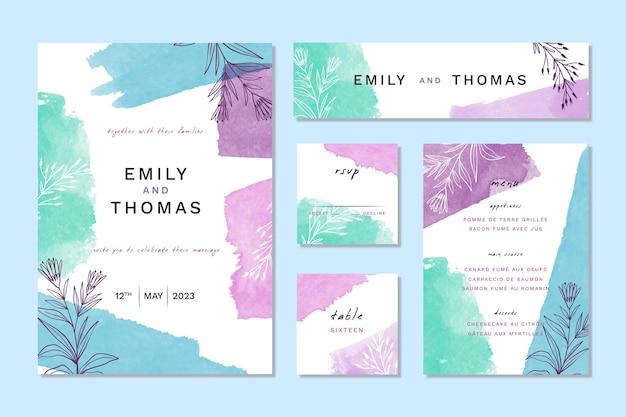 Artículos de papelería de boda de acuarela azul y violeta vector gratuito