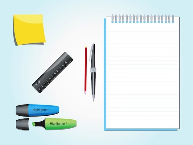 Art culos paquete de vectores escritorio de oficina for Articulos de oficina