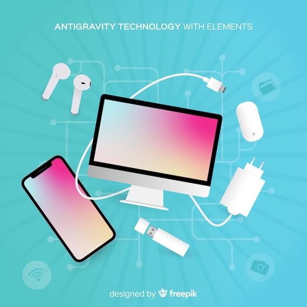 Artículos de tecnología sin gravedad vector gratuito