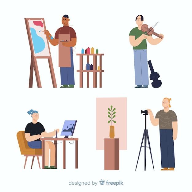 Artista en el trabajo de diseño plano vector gratuito