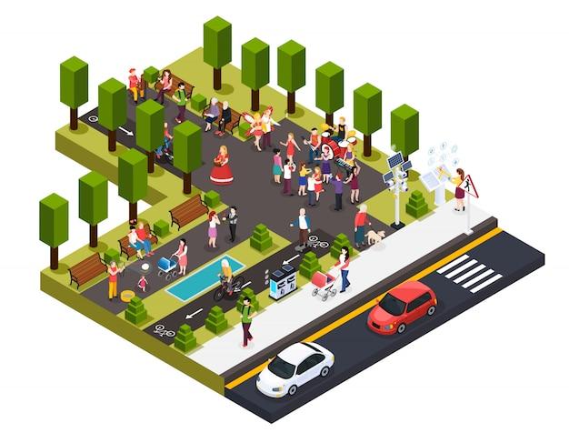 Artistas callejeros, músicos, maestro de pantomima, pintor, florista y estatuas vivas en la composición isométrica del parque vector gratuito