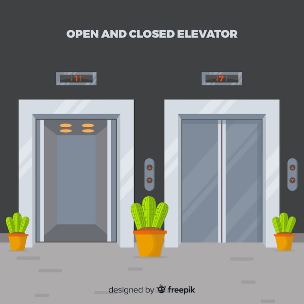 Ascensor abierto y cerrado con diseño plano vector gratuito