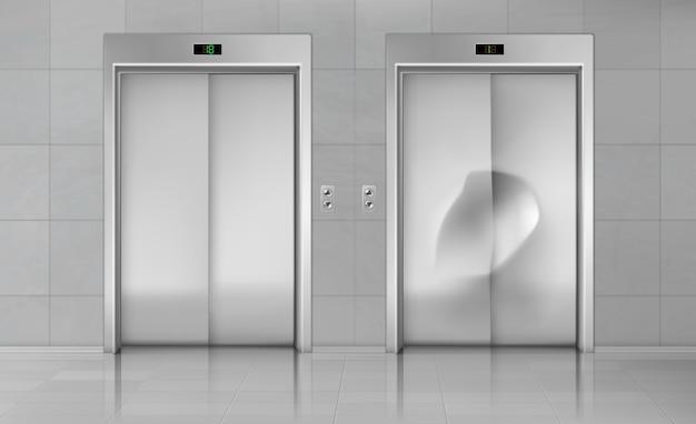 Ascensor puertas, cierre ascensor cabina nueva y dañada vector gratuito