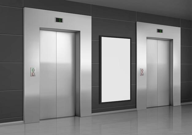 Ascensores realistas con puerta cerrada y cartel publicitario vector gratuito