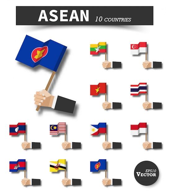 Asean. asociación de naciones del sudeste asiático . Vector Premium