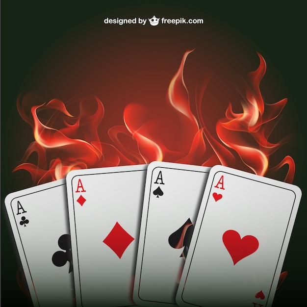 Ases de póquer con llamas vector gratuito