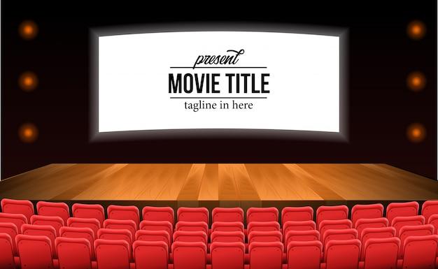 Asientos rojos vacíos en la película de teatro con piso de madera del escenario. plantilla de título de película Vector Premium