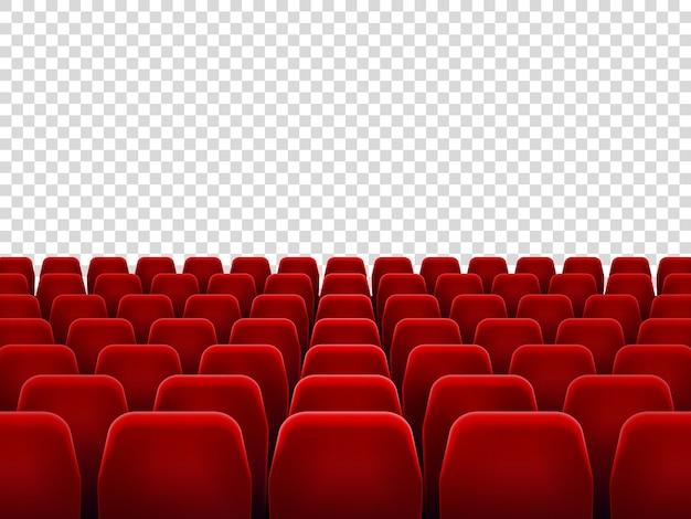 Asientos en sala de cine vacía, silla de asiento para sala de proyección de películas. Vector Premium