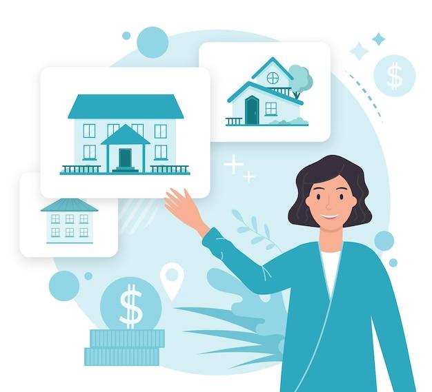 Asistencia ilustrada creativa de inmobiliarias vector gratuito