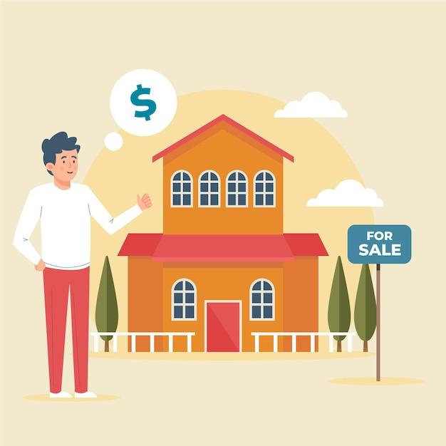 Asistencia inmobiliaria de diseño plano Vector Premium