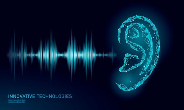 Asistente de reconocimiento de sonido de baja poli. Vector Premium