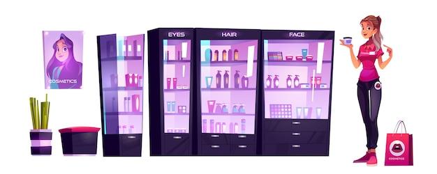 Asistente de tienda de cosméticos ofrece producción de maquillaje o cuidado de la piel en el salón de belleza. vendedora mantenga el soporte del tarro de crema cosmética en el escaparate con botellas en los estantes. productos para mujeres ilustración vectorial de dibujos animados vector gratuito