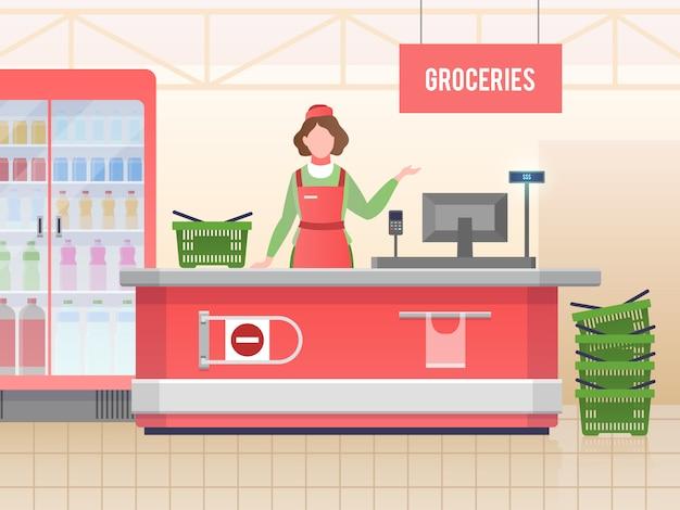 Asistente de tienda de supermercado. mujer feliz cajero ventas comida en supermercado hipermercado. servicio al por menor, imagen de vector de compras de supermercado Vector Premium
