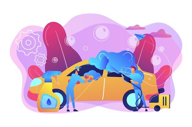 Asistentes de lavado automático que limpian el exterior del vehículo con equipo especial. servicio de lavado de autos, lavado de autos automático, concepto de lavado de autos de autoservicio. ilustración aislada violeta vibrante brillante vector gratuito