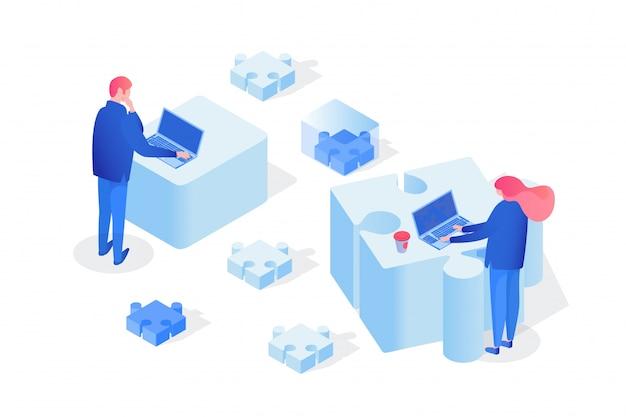 Asociación, trabajo en equipo 3d. Vector Premium