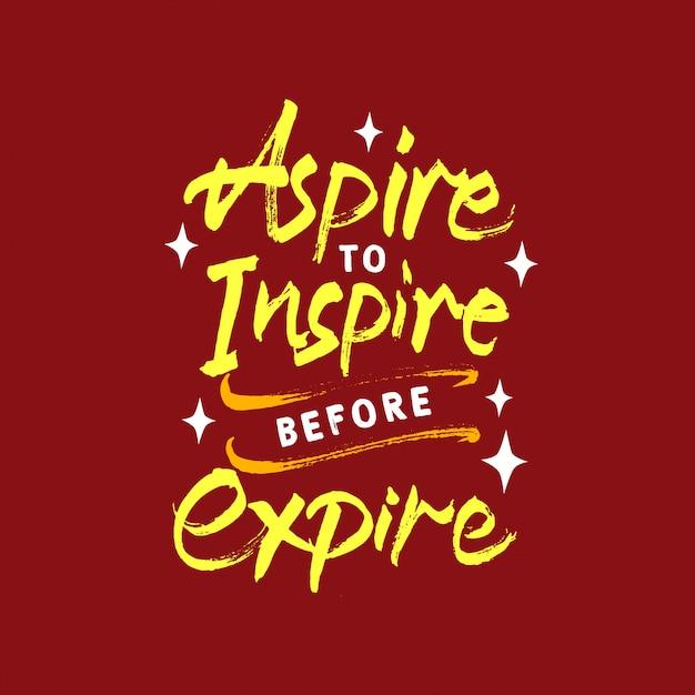 Aspirar a inspirar antes de expirar la motivación de letras cita Vector Premium