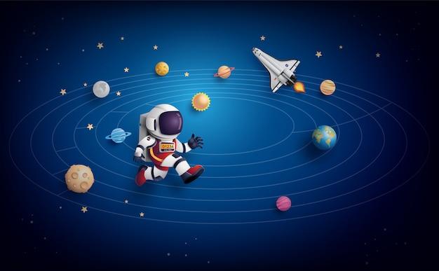 Astronauta astronauta flotando en la estratosfera. arte de papel y estilo artesanal. Vector Premium