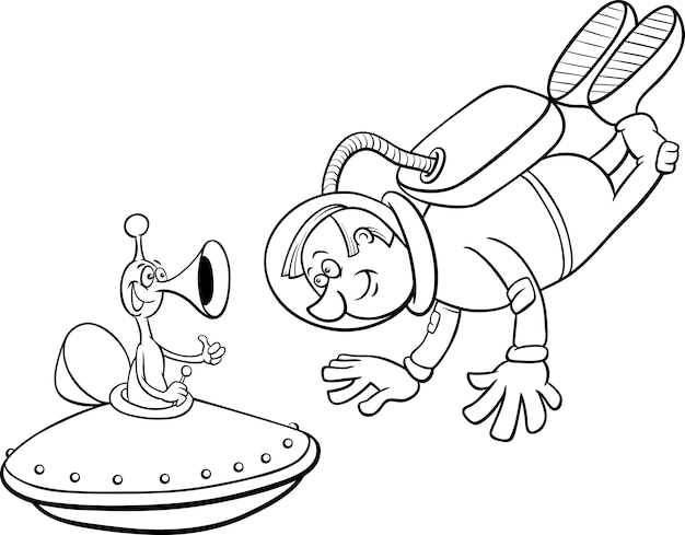 Astronauta con alien para colorear | Descargar Vectores Premium