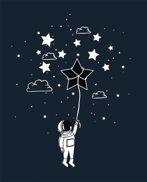 Astronauta dibujar con estrella vector gratuito