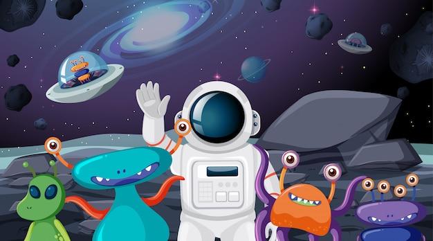 Astronauta y escena alienígena vector gratuito