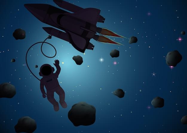 Astronauta en escena espacial. vector gratuito