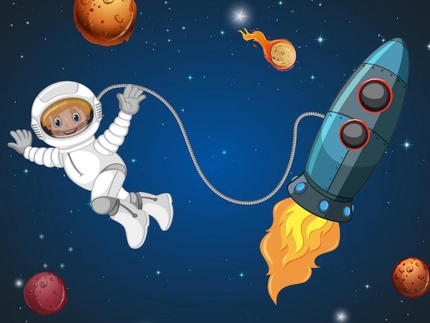 Un astronauta en el espacio. vector gratuito