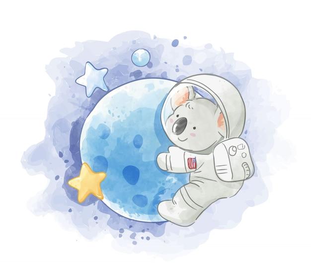 Astronauta koala en la ilustración de la luna Vector Premium