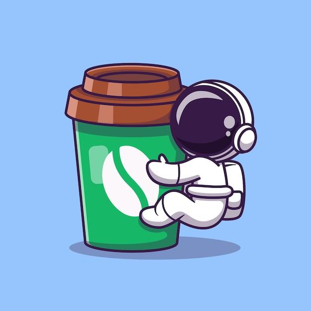 Astronauta lindo con ilustración de icono de vector de dibujos animados de taza de café. icono de comida y bebida de espacio vector gratuito