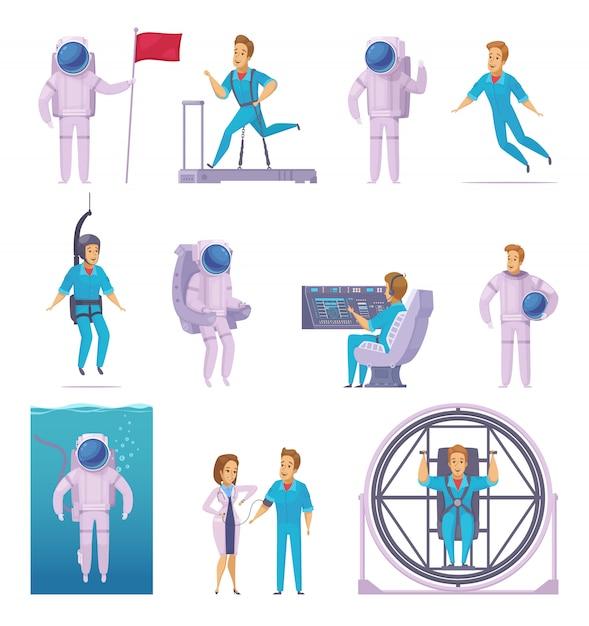 Astronauta misión espacial iconos de dibujos animados con entrenamiento de examen médico vector gratuito