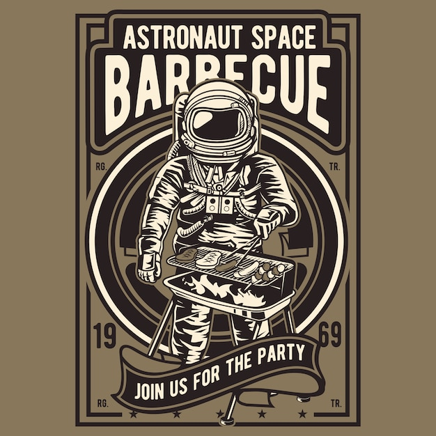 Astronauta space barbecue Vector Premium