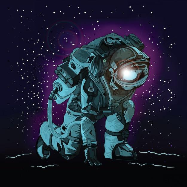 Astronauta en traje espacial en el espacio. Vector Premium