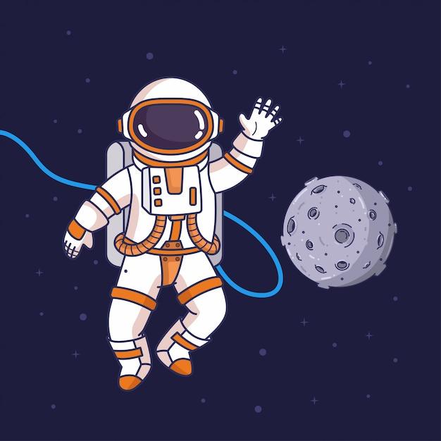 Astronauta volador en el espacio Vector Premium