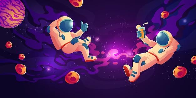 Astronautas en ingravidez bebiendo jugo, relájese vector gratuito