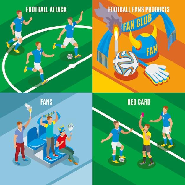 Ataque de fútbol tarjeta roja ventiladores productos composiciones isométricas vector gratuito