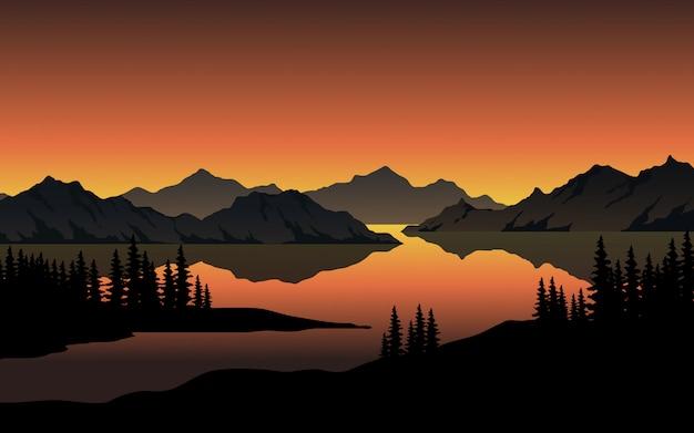 Atardecer en el lago con colinas Vector Premium