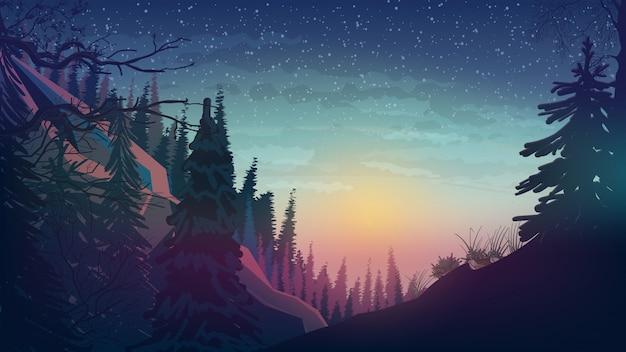 Atardecer en las montañas con bosque de pinos. Vector Premium