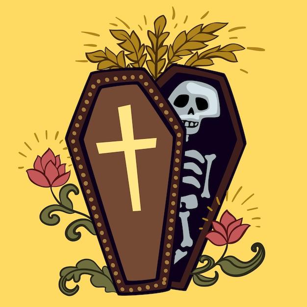 Ataúd de halloween con esqueleto. Vector Premium