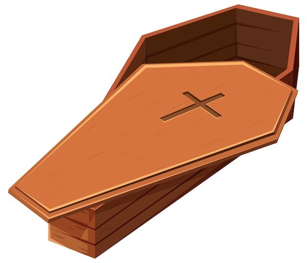 Ataúd de madera con símbolo de cruz vector gratuito
