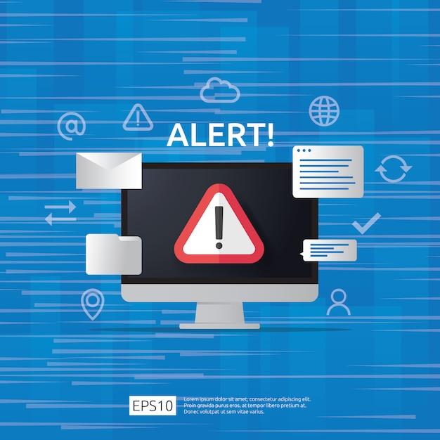 Atención advertencia atacante alerta señal con signo de exclamación en la pantalla del monitor de la computadora. cuidado con el icono de símbolo de peligro de internet. Vector Premium