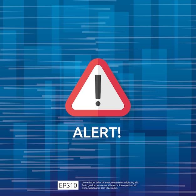 Atención advertencia atacante señal de alerta con signo de exclamación. cuidado con el estado de alerta del símbolo de peligro de internet. icono de línea de escudo para vpn. Vector Premium
