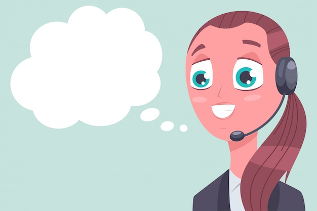 Atención al cliente del consultor con el personaje de dibujos animados del vector de la burbuja del discurso aislado en fondo. Vector Premium