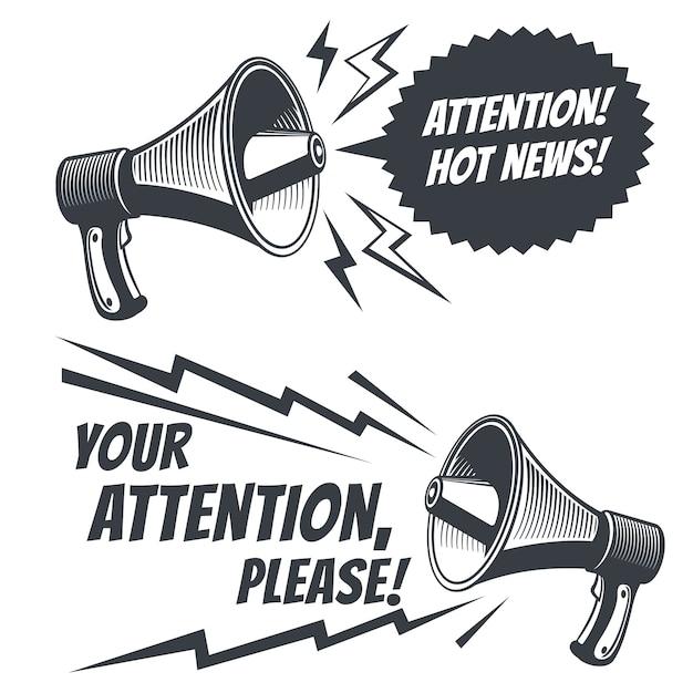 Atención por favor megáfono de voz. Vector Premium