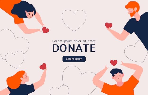 Atención social y concepto de caridad. manos de personas con corazones para donación de caridad Vector Premium