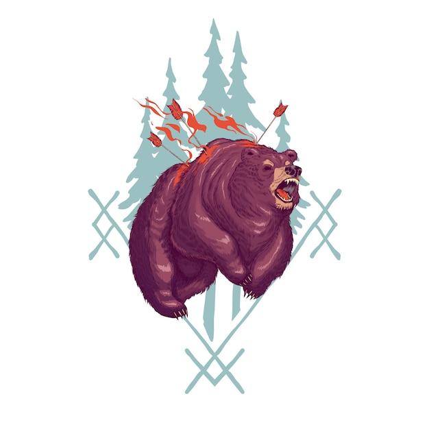 Aterradora ilustración de dibujos animados de werebear vector gratuito