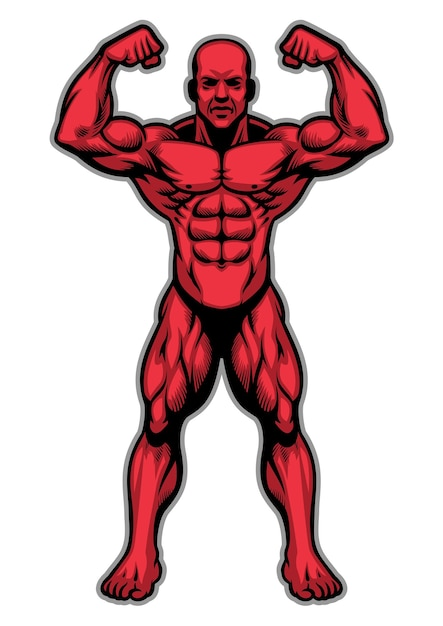 Atleta culturista mostrando su cuerpo muscular Vector Premium