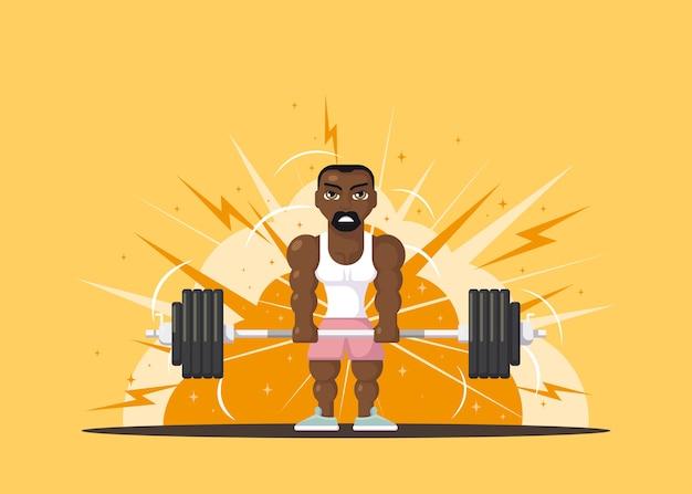 Atleta hombre fuerte haciendo ejercicio de peso muerto en el gimnasio. concepto de entrenamiento de gimnasio. diseño de personajes de estilo plano. Vector Premium
