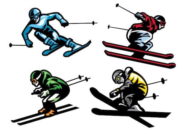 Atletas de esquí en set Vector Premium