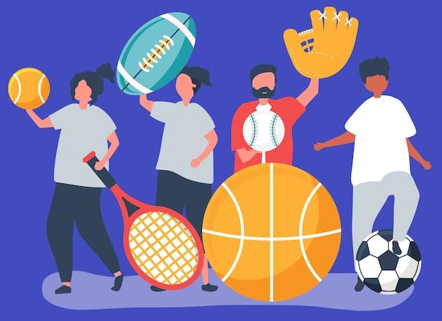 Atletas llevando diferentes iconos del deporte. vector gratuito